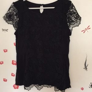 Black lace and cotton peplum top ❤️💖❤️💖